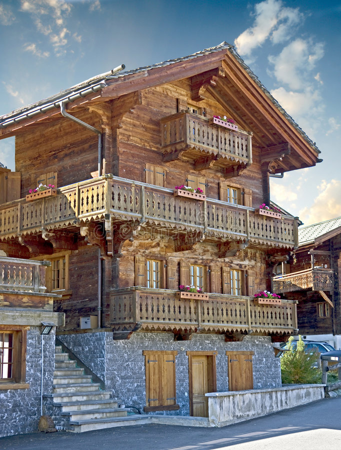 18个房子老瑞士 免版税库存图片