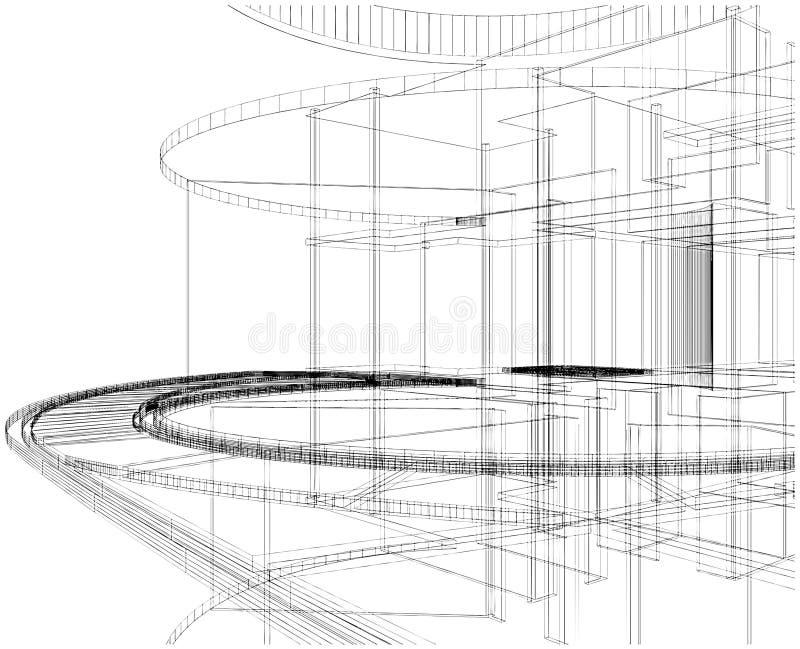 18抽象建筑线路向量 向量例证