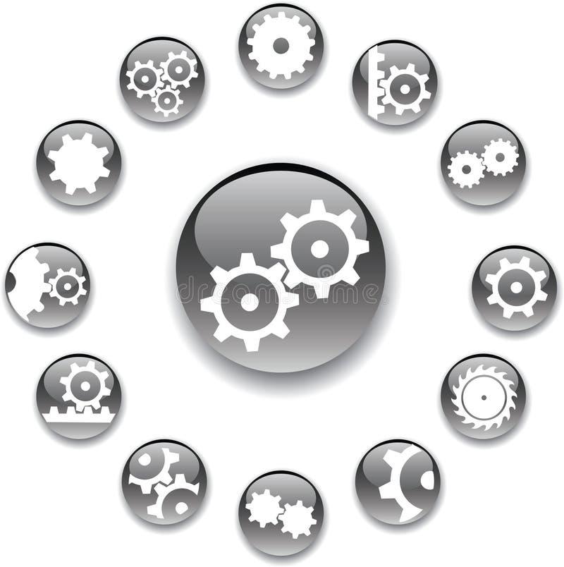 18 установленных шестерен кнопок иллюстрация вектора