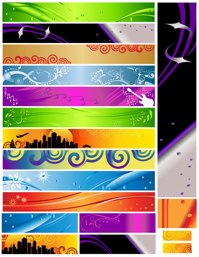 18 Banners Multi Themes And Colors 468x60 Royalty Free Stock Images