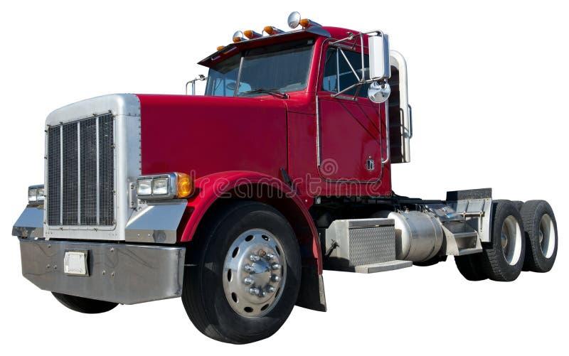 18 de Vrachtwagen van de Aanhangwagen van de Tractor van de speculant die op Wit wordt geïsoleerdu stock fotografie