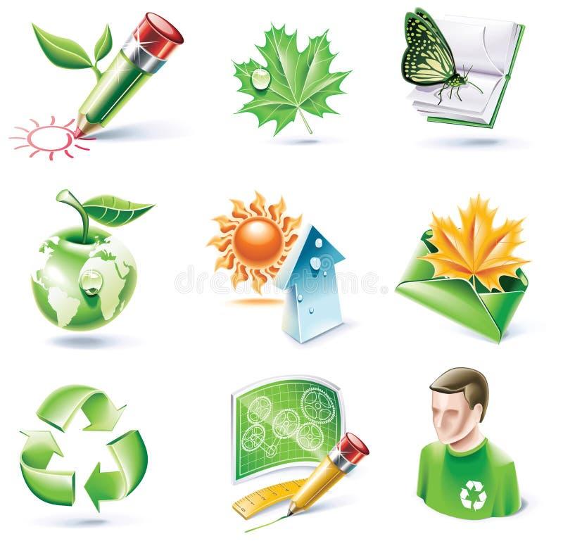 18 kreskówki ekologii ikony część setu stylu wektor royalty ilustracja