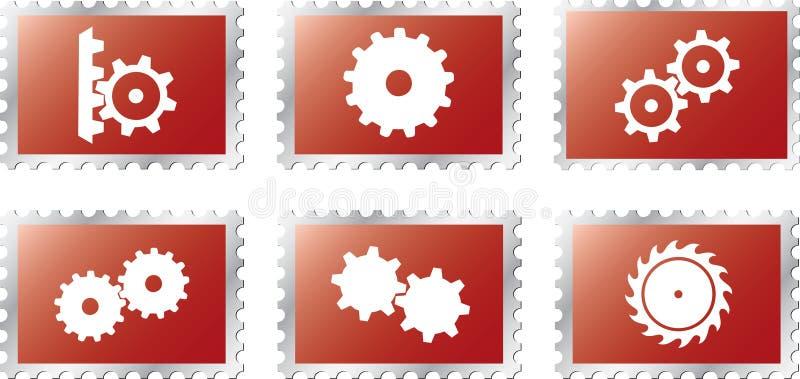 18 kugghjul ställde in stamps2 stock illustrationer