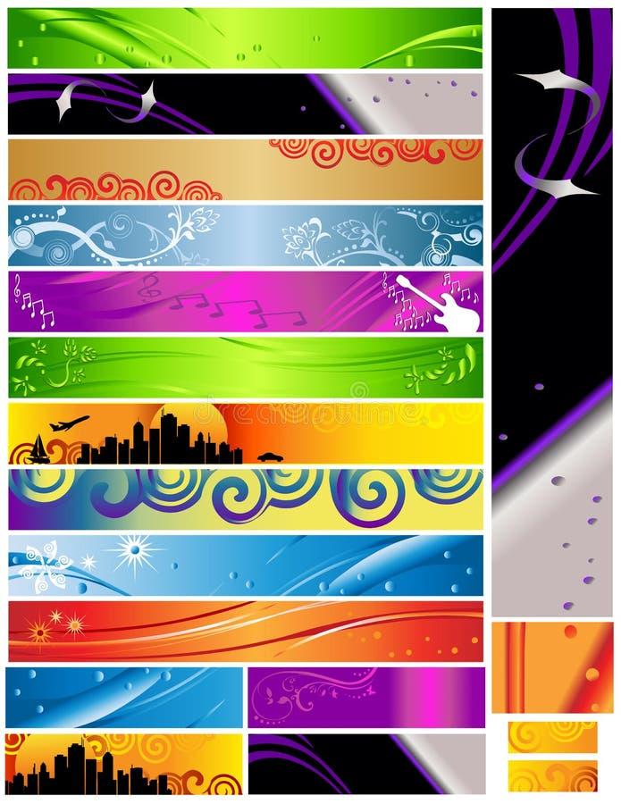 18 multi temas das bandeiras e cores 468x60 ilustração stock