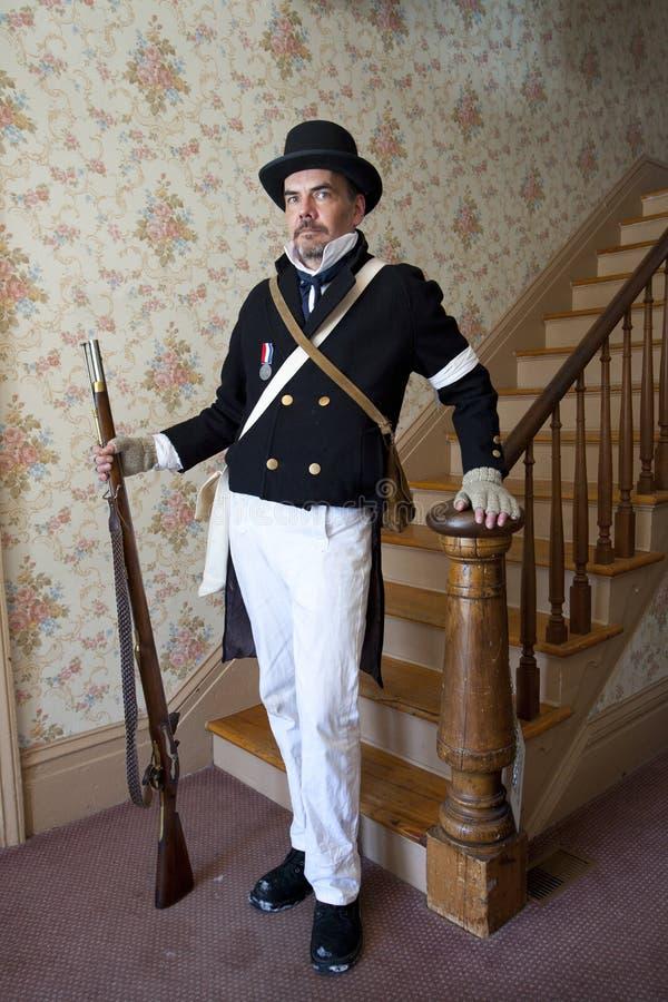 1812年或内战Reenactor 免版税库存照片