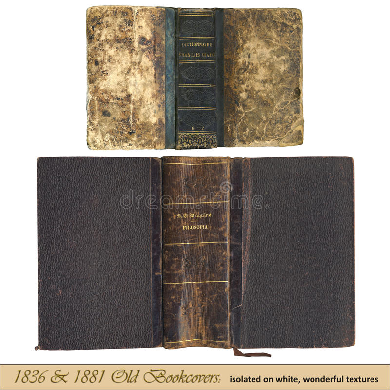 1836 & 1881 oude bookcovers royalty-vrije stock foto's