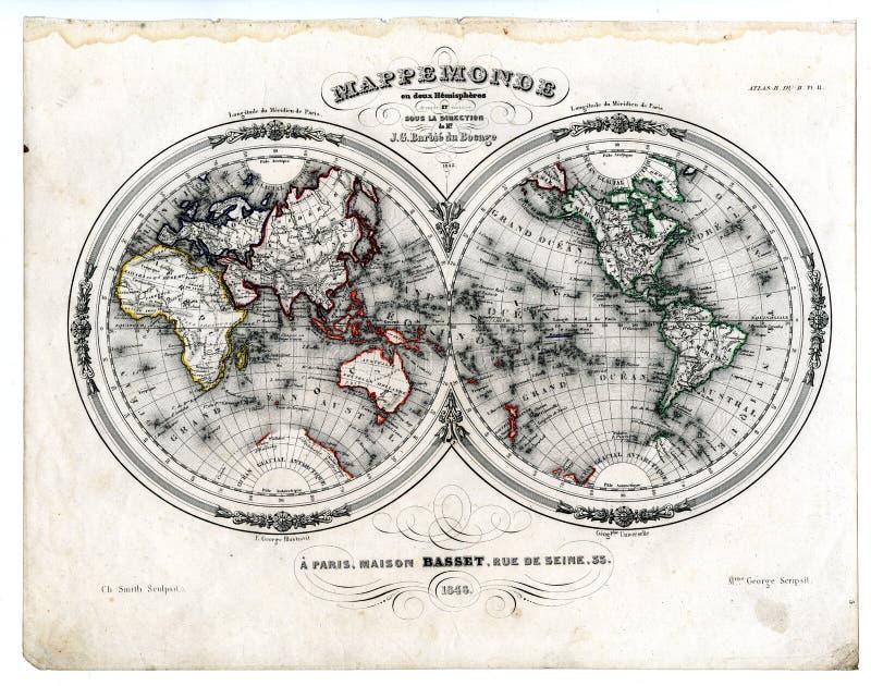 1846 Karten-Welt in den Hemisphären stock abbildung