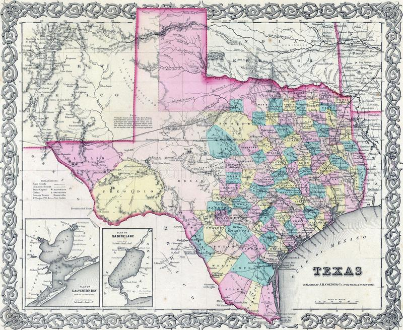 1855 antique map of Texas vector illustration