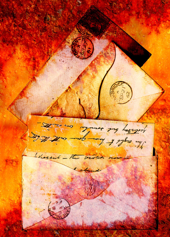 1860s letters. Victorian stationery from 1860s redone in a grunge style stock images