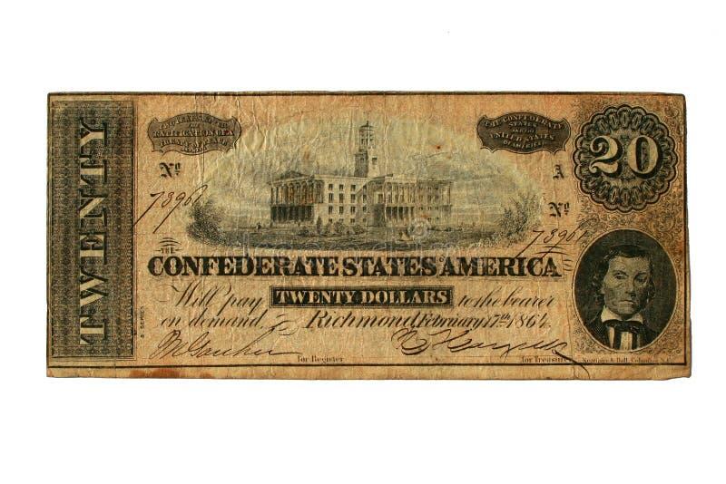 1864建立资本conderate纳稀威的票据打印了显 免版税库存图片