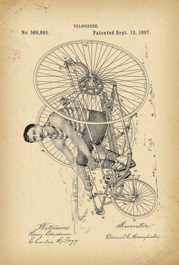 Free 1887 Patent Velocipede Tricycle Bicycle Archival History Invention Stock Photography - 122980922