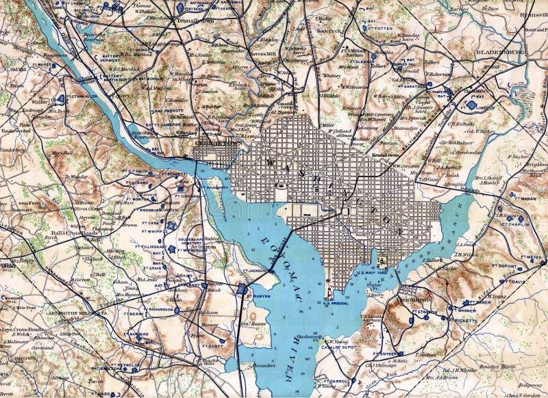 1890 het Washington DC van de kaart vector illustratie