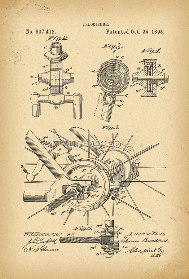 Free 1893 Patent Velocipede Bicycle History Invention Stock Photo - 118483260