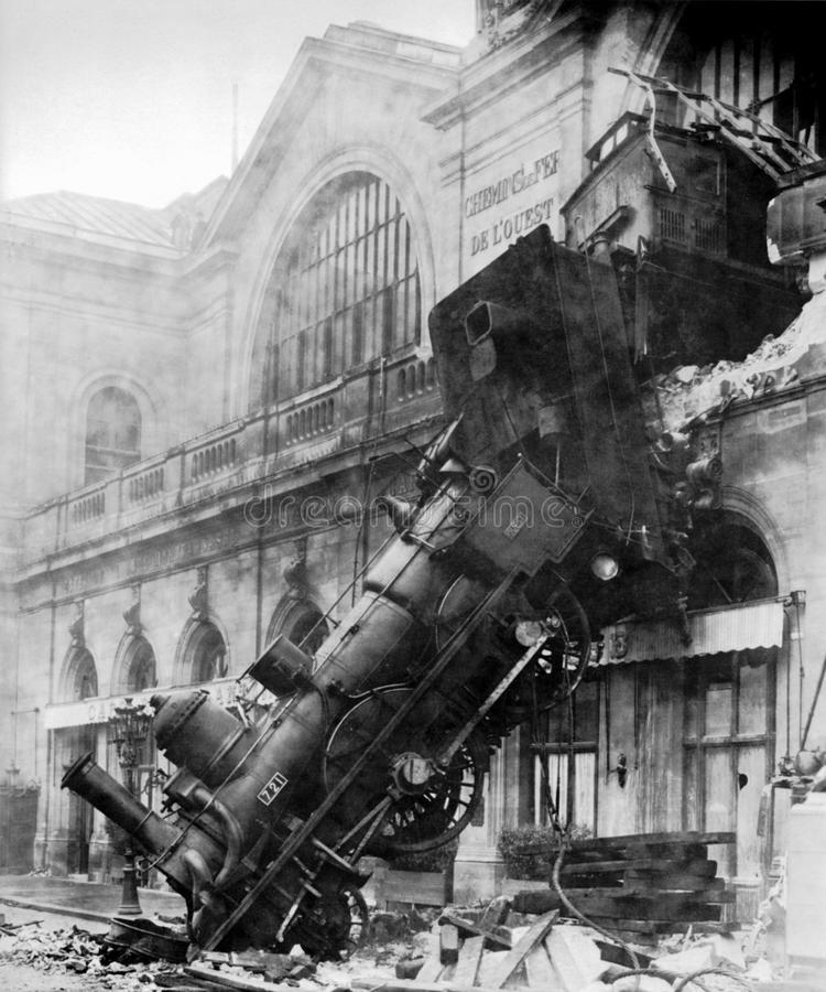 1895 Locomotive Accident, Montparnasse, Paris, France Free Public Domain Cc0 Image