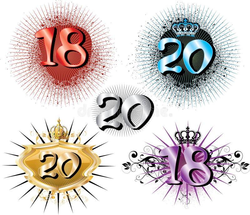 18o Aniversário ou 20o aniversário ilustração stock