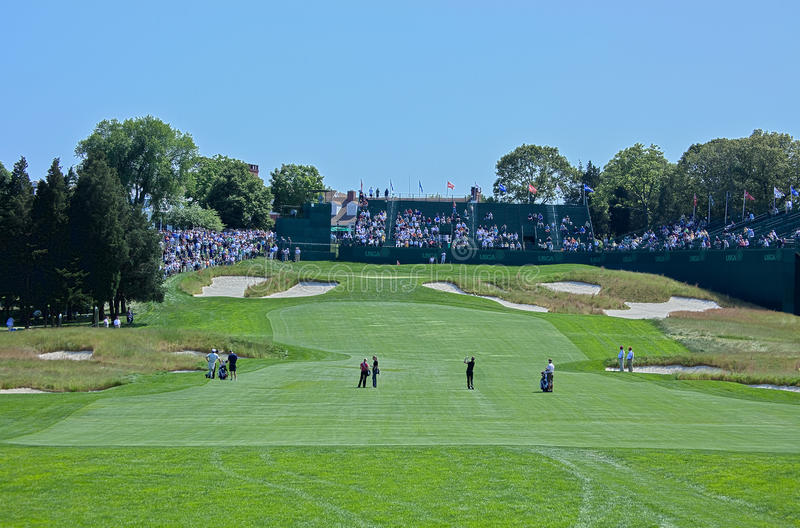 18th on The Black. FARMINGDALE, NY - JUNE 15: The 18th hole on Bethpage State Park's black course at the 2009 US Open on June 15, 2009 in Farmingdale, NY royalty free stock image