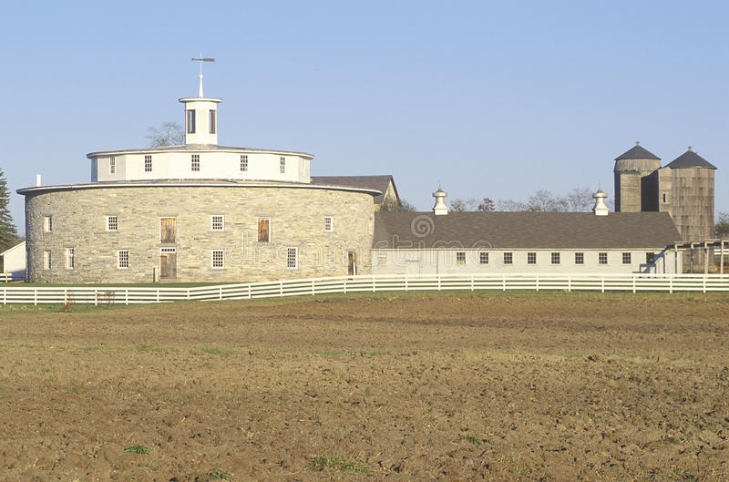 18th Century stone round barn. In Berkshire Hills, Shaker village, Pittsfield, MA stock photography