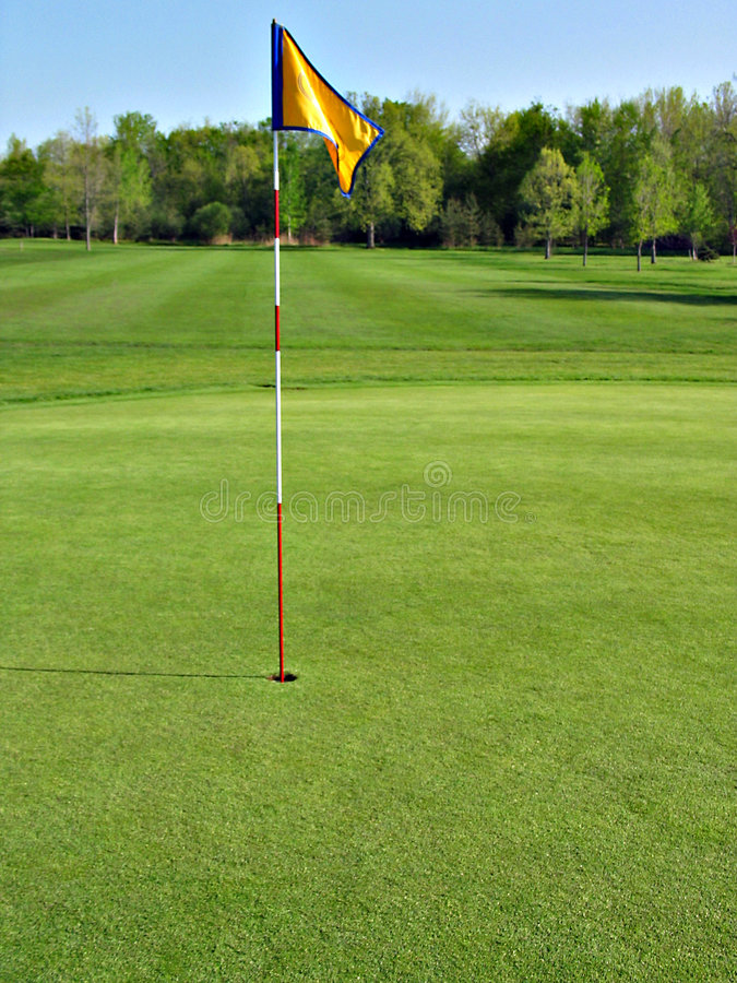 18th Green. Flag on 18th green stock photography