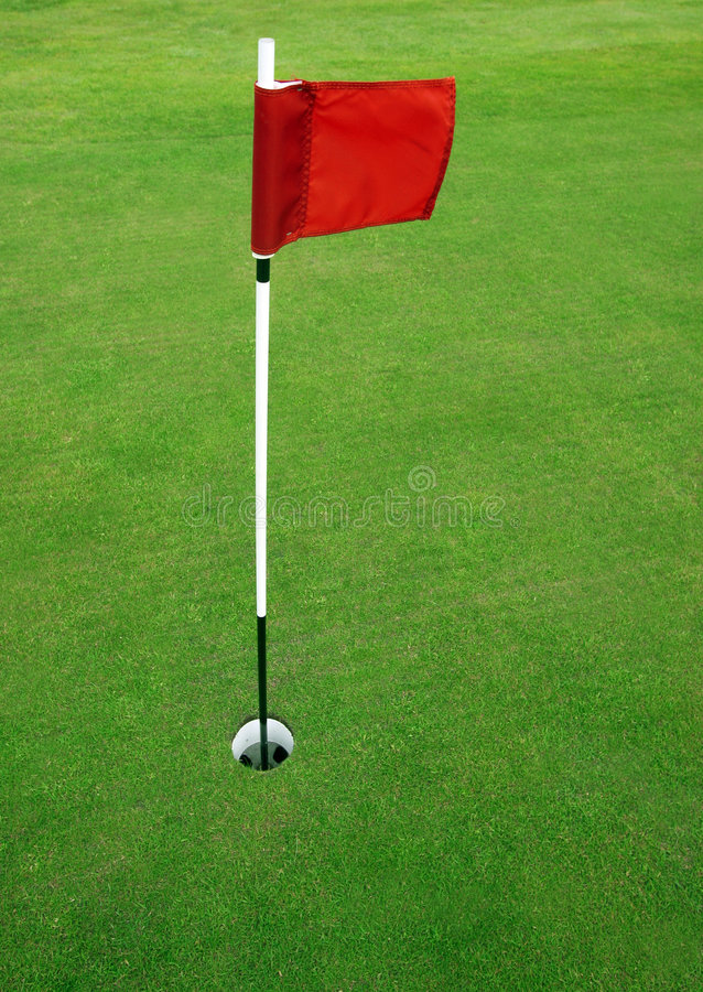 18th hole. Putting green on a golfcourse royalty free stock images