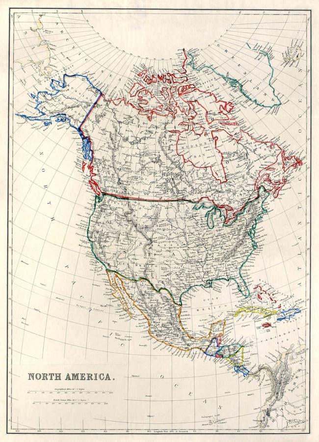 19ème Carte de siècle de l'Amérique du Nord image libre de droits