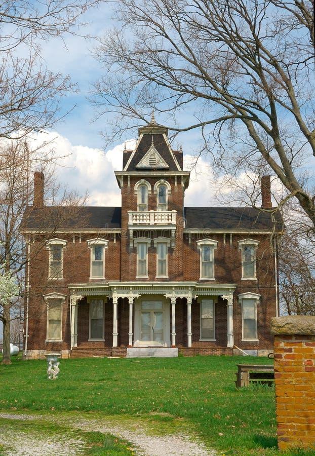 19世纪砖有历史的家 库存照片