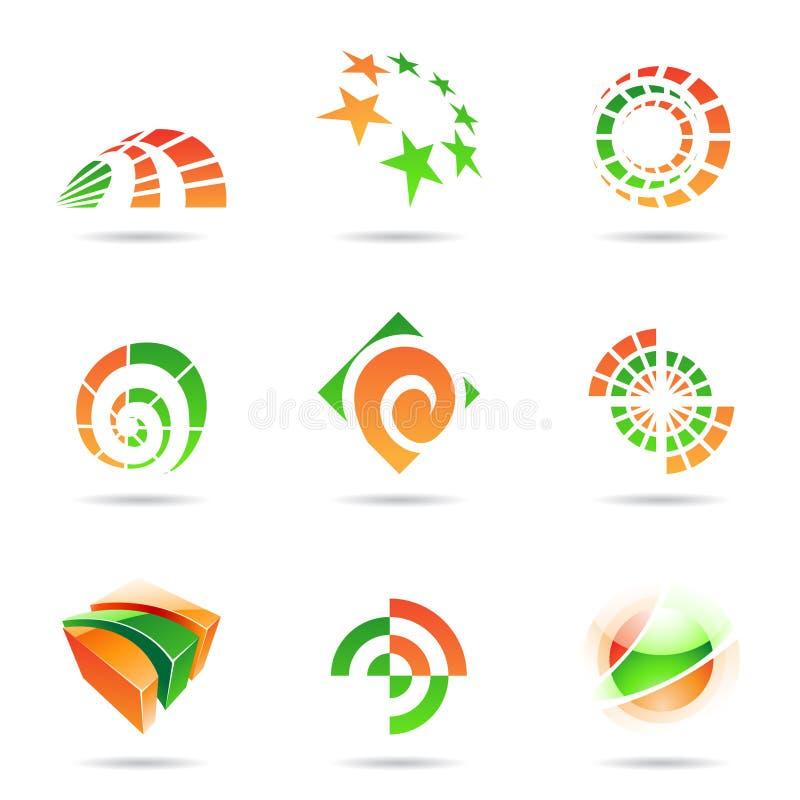 19 abstraktów zielony ikony pomarańcze set ilustracja wektor