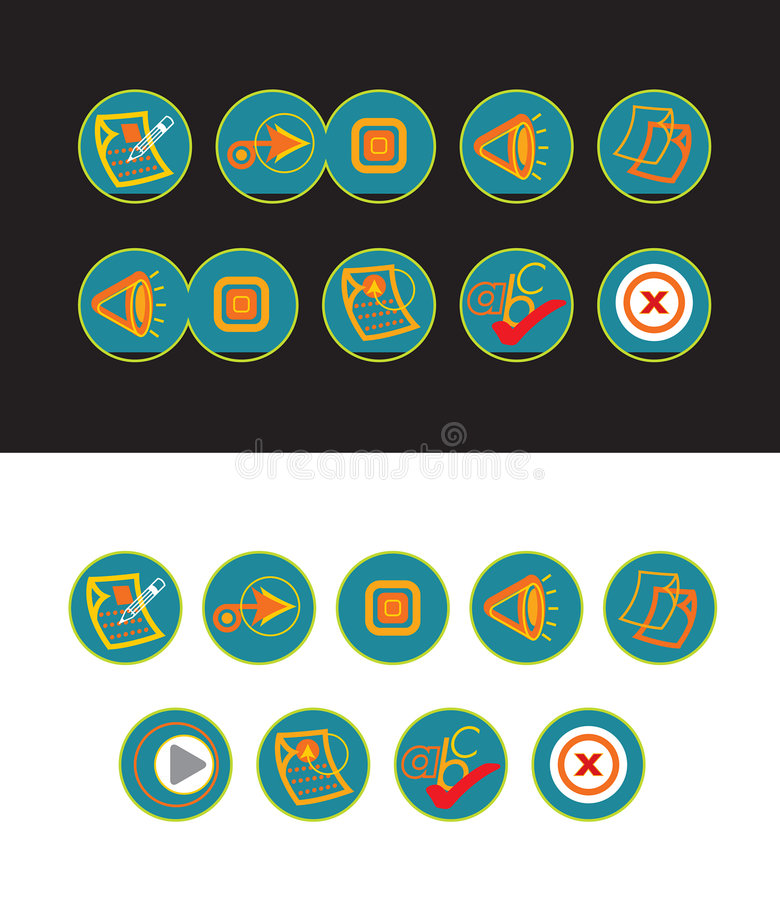19 green web buttons. For all usage royalty free illustration