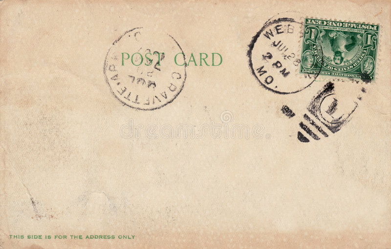 1907 Antique Postcard. Blank back of a 1907 postcard. Sepia tone with green text. Divided back. One cent stamp cancelled. Two postmarks royalty free stock images
