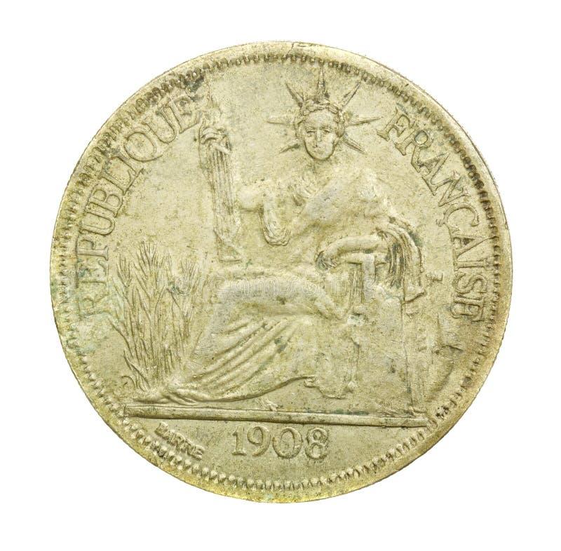 1908年葡萄酒与法兰西共和国的法国硬币 免版税图库摄影