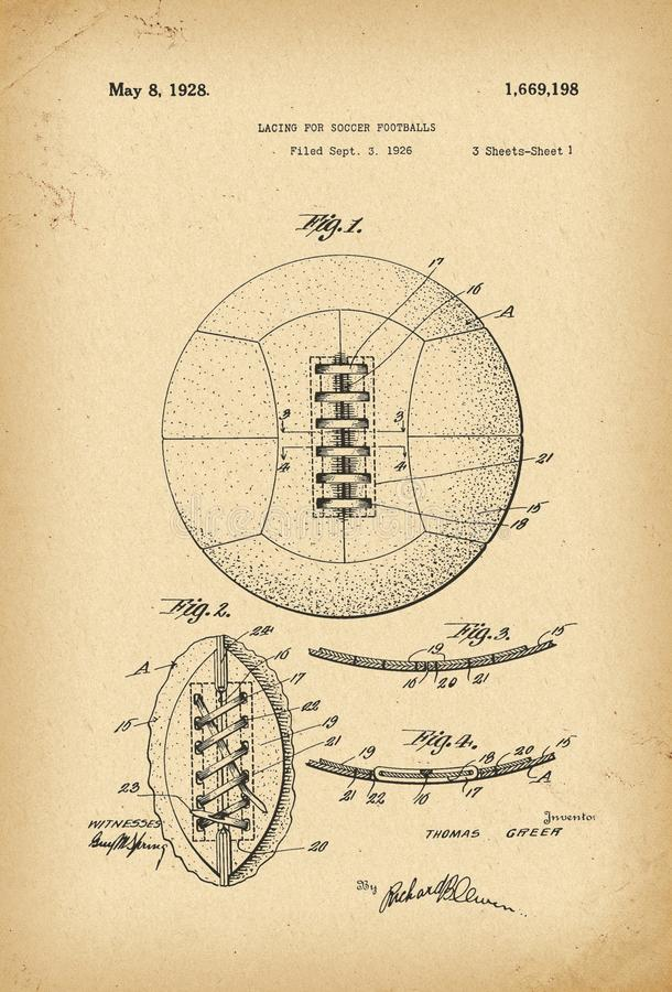 Free 1926 Lacing For Soccer Footballs Patent History Invention Royalty Free Stock Photo - 119559975