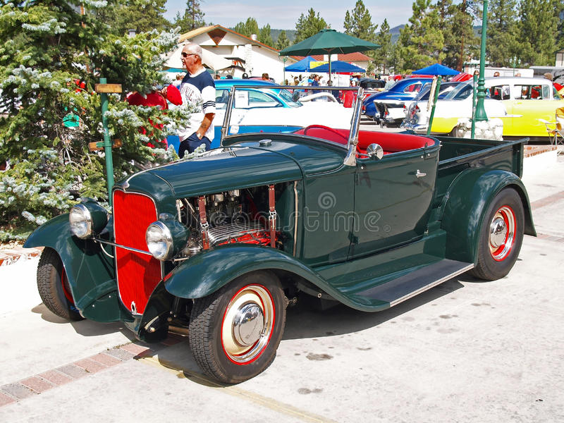 1929 Model A Ford roadster pickup. This is a dark green 1929 Model A roadster pickup with a high performance V-8 engine royalty free stock images