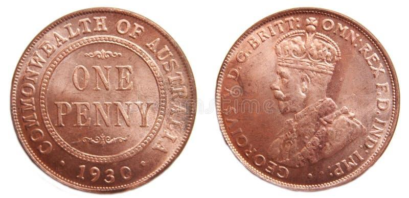 1930 dziesiątkowy rzadki australijczyka cent menniczy dziesiątkowy zdjęcie stock