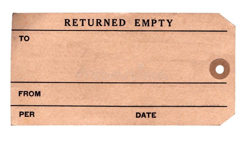 1930s пакетируют возвращенную бирку стоковое фото
