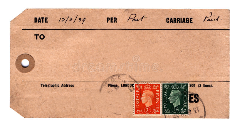 1930s parcel tag royalty free stock photography