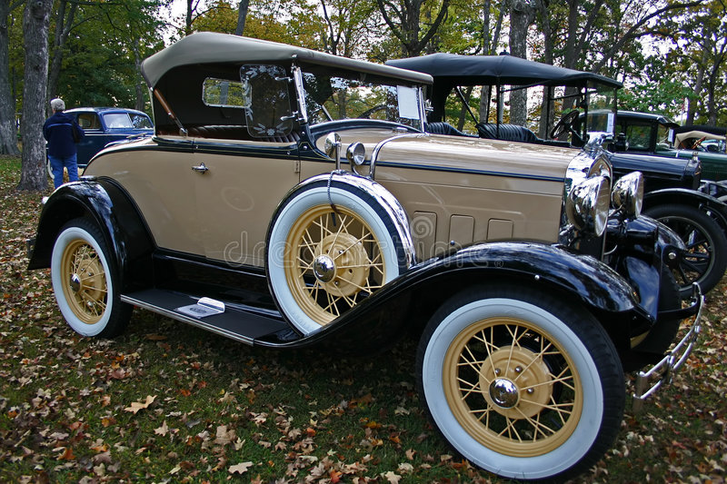 1931 Model A Ford Roadster. Black and tan convertible royalty free stock photography
