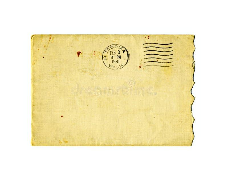 1941年被撕毁的信包老邮政印花税 库存图片