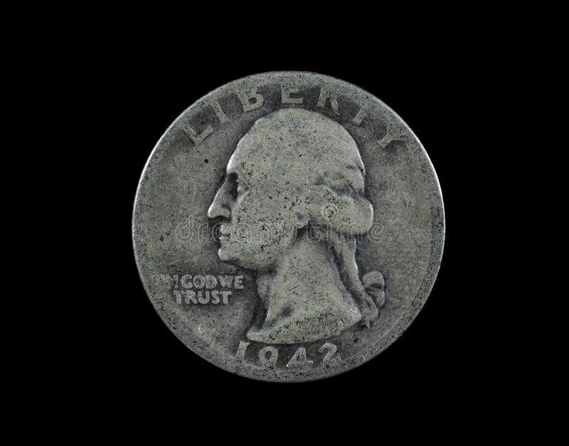 1942 United States Silver Quarter Head Side Royalty Free Stock Image