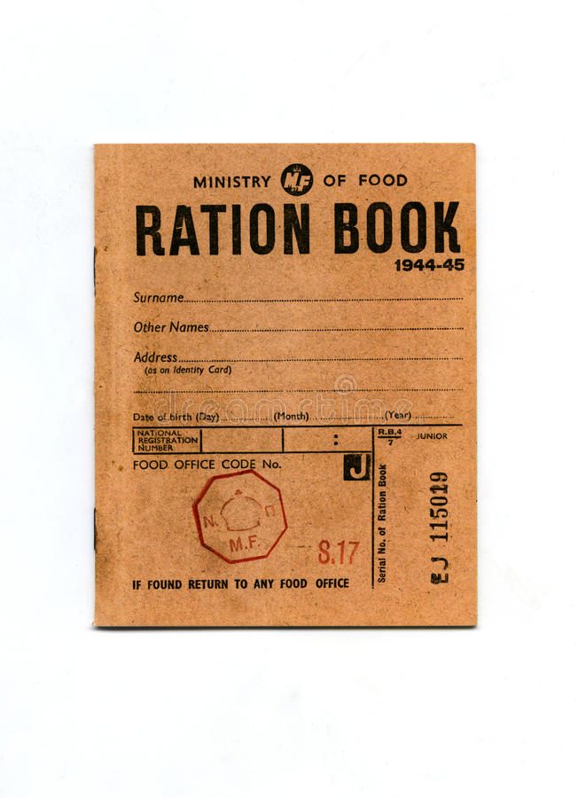 Free 1944-45 Wartime Ration Book Stock Image - 38138941