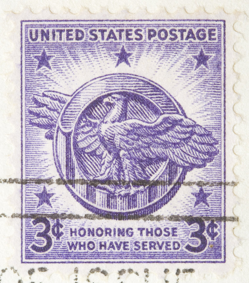 1946 stamp Honoring those who have served. This is a Vintage 1946 three cent USA postage stamp Honoring those who have served royalty free stock photography
