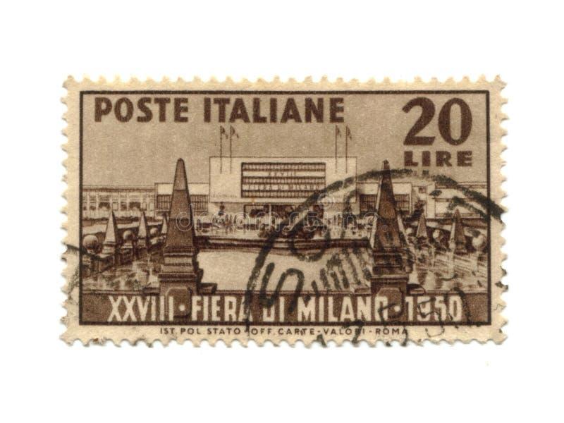 1950标有日期的意大利邮票 库存图片