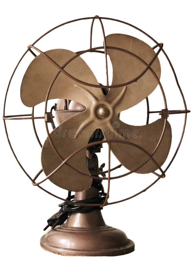 1950 Fan. An old fan from the year 1950 and isolated in white stock image