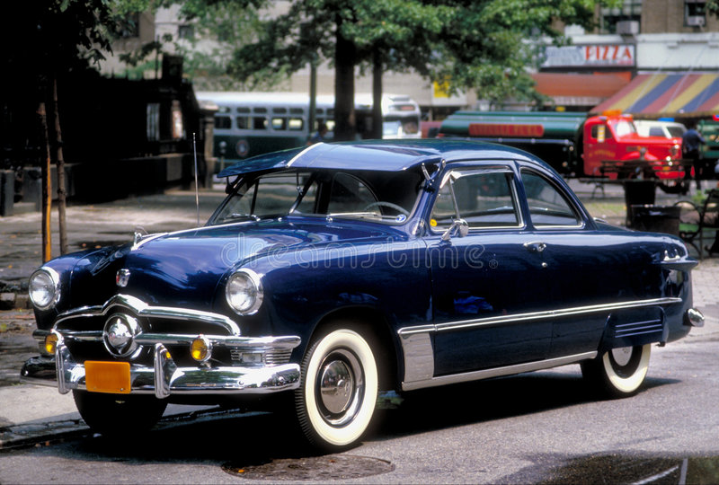 1950 Ford. Blue 1950 Ford on New York city street stock image