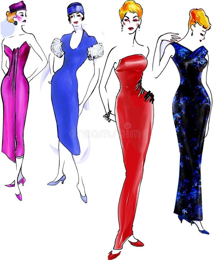1950 mody historii model royalty ilustracja