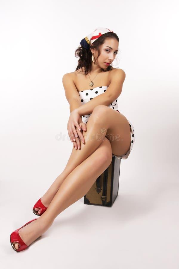 1950 pin up girl stock image image of brunette look 6960731. Black Bedroom Furniture Sets. Home Design Ideas