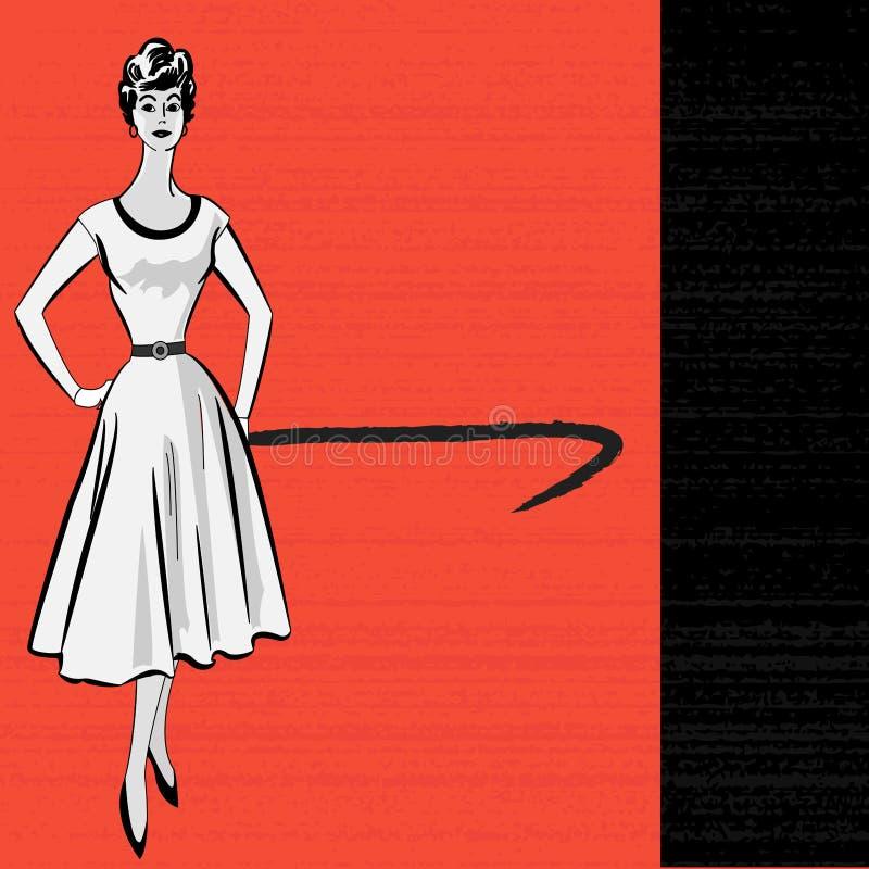 1950's вводят ретро сообщение в моду бесплатная иллюстрация