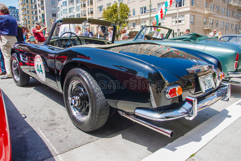 1957 BMW 507 Roadster. SAN FRANCISCO - APRIL 29: A 1957 BMW 507 Roadster is on display during the 2012 California Mille show in Nob Hill in San Francisco on stock photography