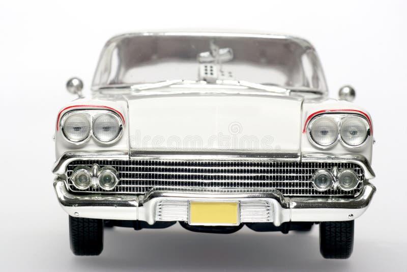 1958年汽车薛佛列汽车frontview飞羚金属缩放Ĕ 免版税库存照片