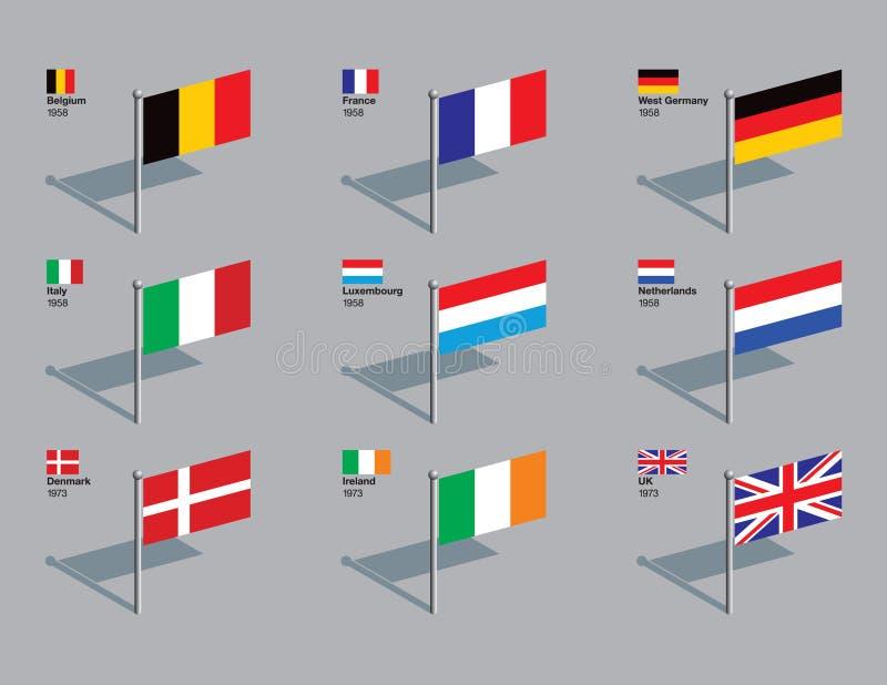 1958 eu 1973 spinaczy bandery royalty ilustracja