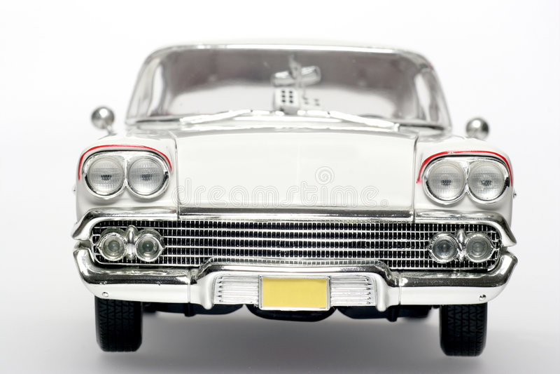 1958 het stuk speelgoed van de het metaalschaal van de Impala Chevrolet auto frontview royalty-vrije stock foto