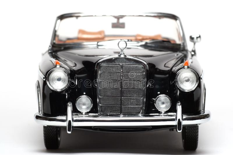 1958 Mercedes Benz 220 SE metal scale toy car frontview royalty free stock image